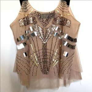 Akira Chicago Nude Tulle Tank - Cropped - Sequined